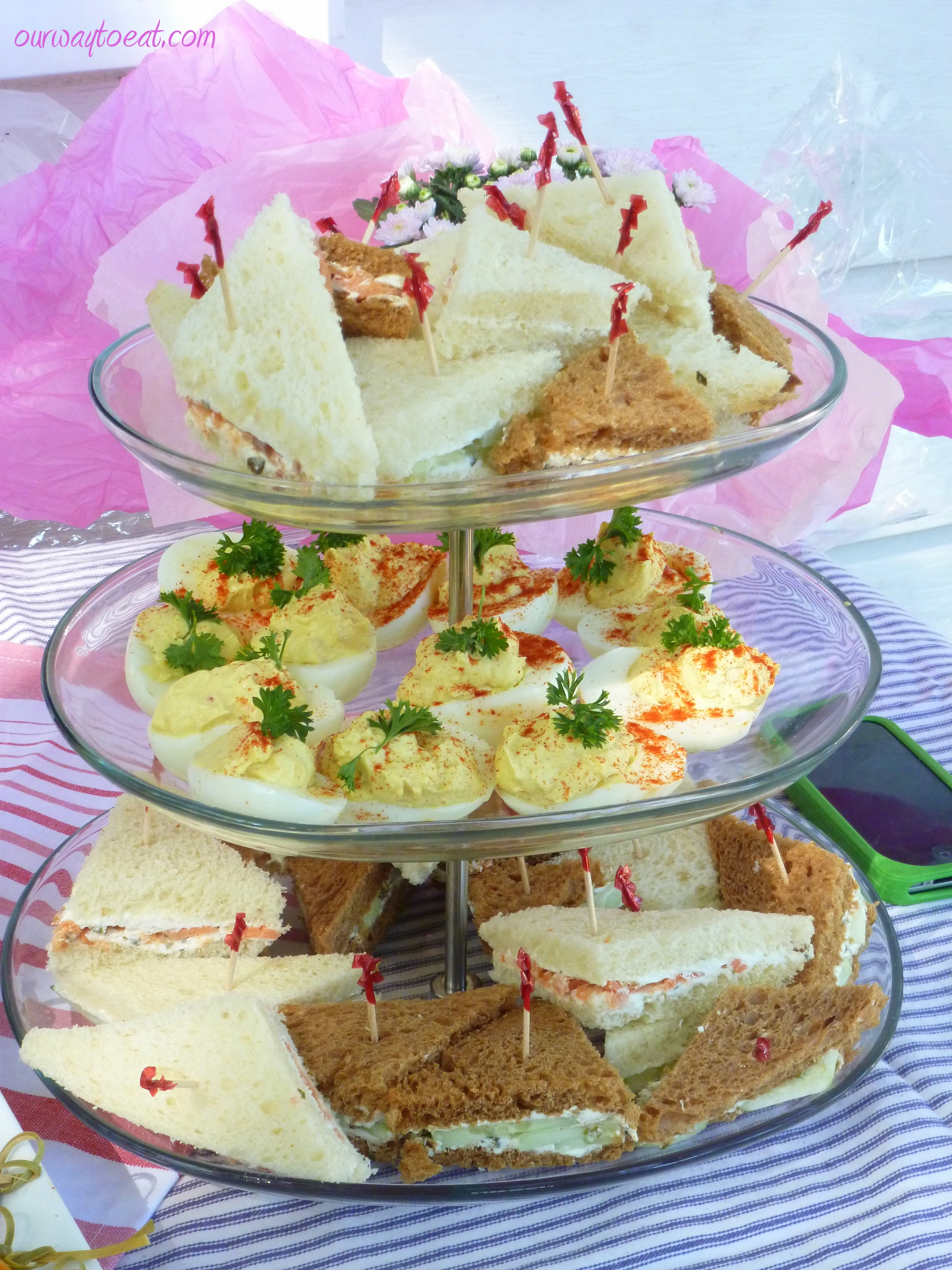 deviled eggs and tea sandwiches