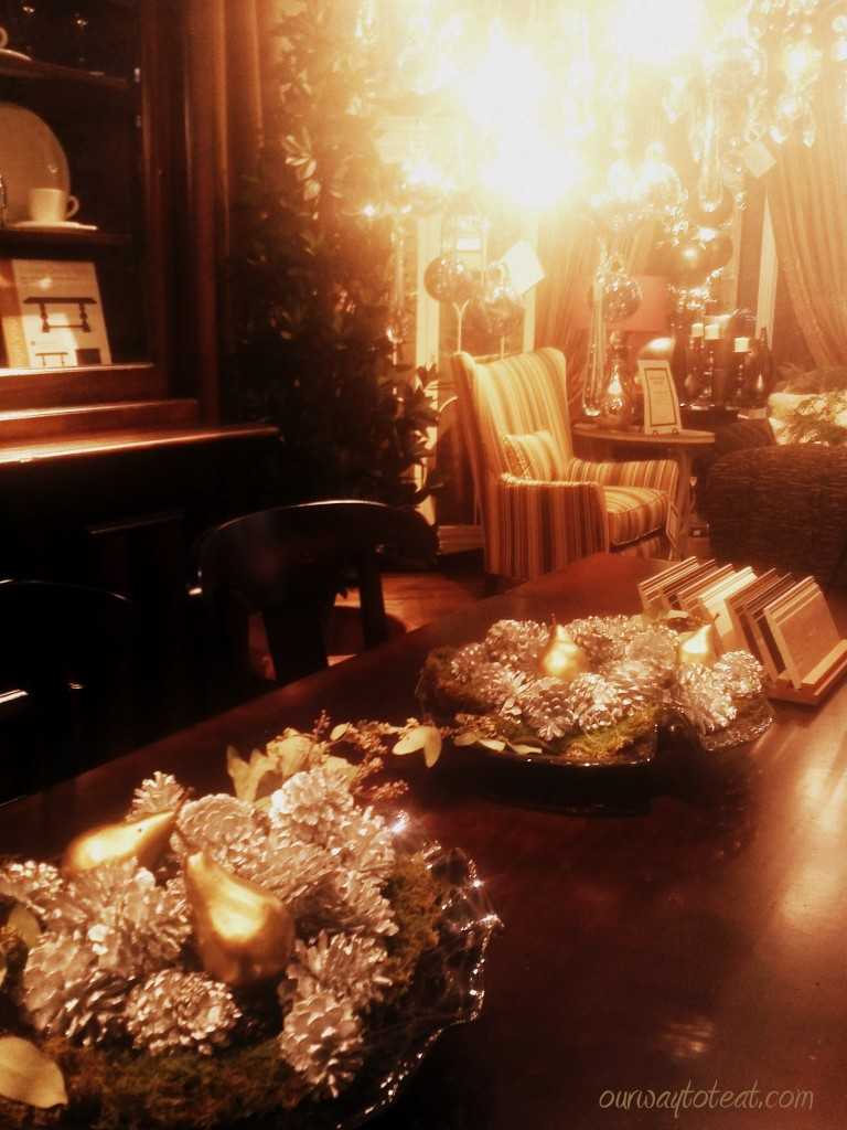 Moss, Silver Pinecones and Golden Pear Centerpeice at Arhaus