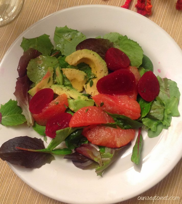 Beet, Avocado and Grapefruit dressed with Grapefruit Juice and Thyme on Mixed Greens