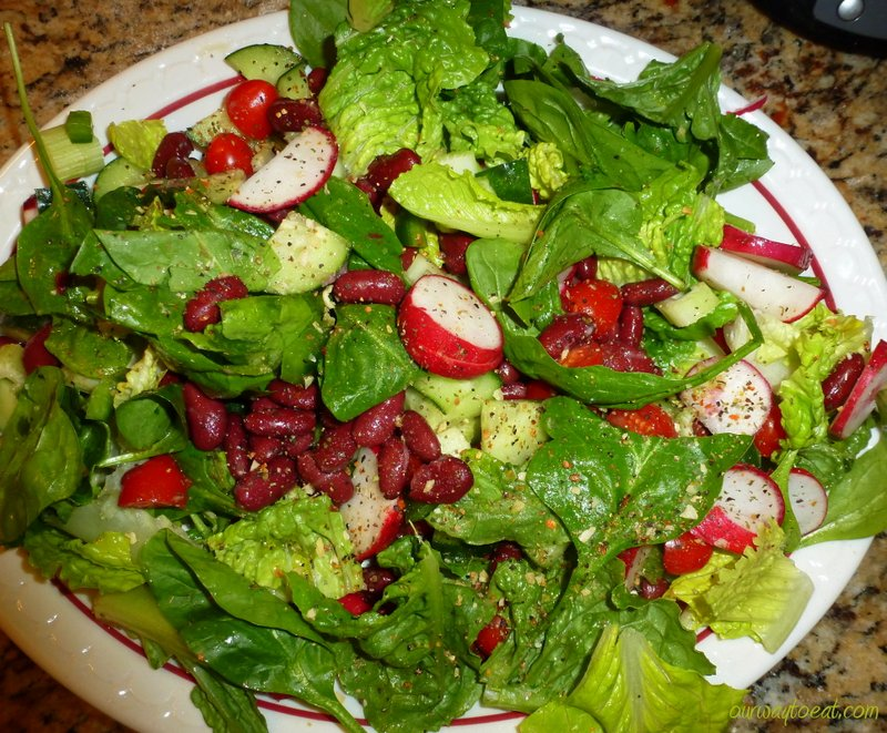 Radish, Celery, Cuke and Kidney Beans with Spinach and Romaine