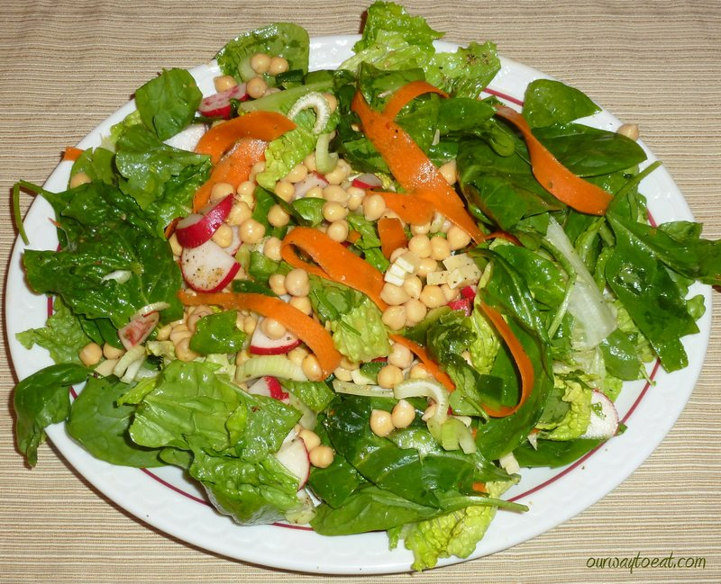 Shaved Carrot and Chickpeas on Romaine