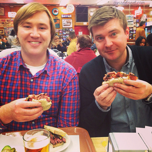 Bjorn and Brett enjoying pastrami on rye ourwaytoeat