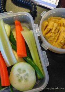 Veggies and Hummus packed to travel